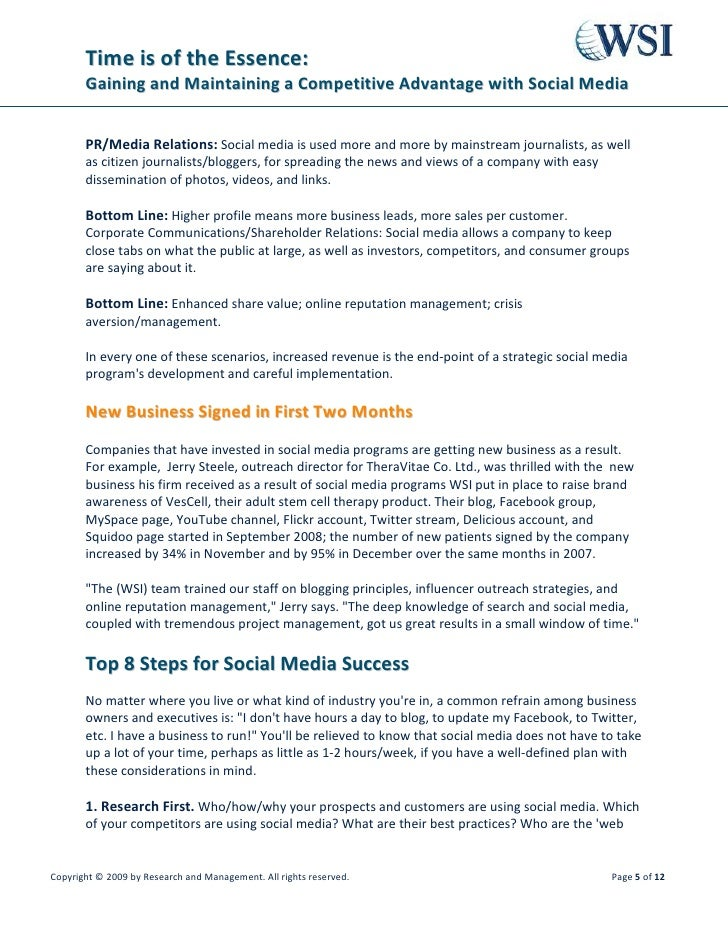 Time is of the Essence:        Gaining and Maintaining a Competitive Advantage with Social Media          PR/Media Relatio...