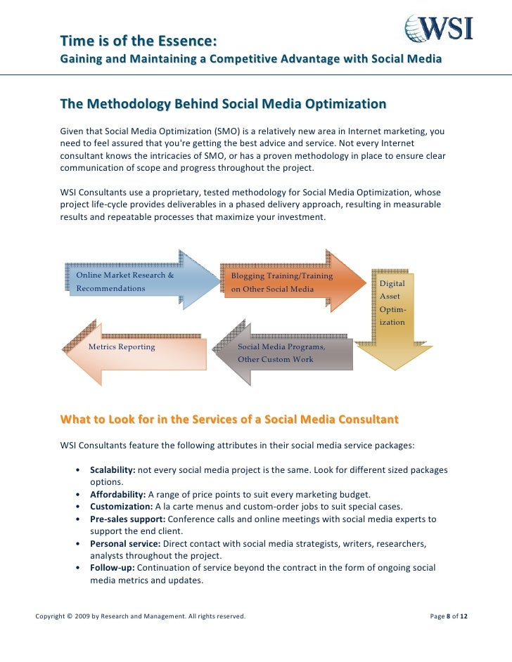 Time is of the Essence:        Gaining and Maintaining a Competitive Advantage with Social Media          The Methodology ...