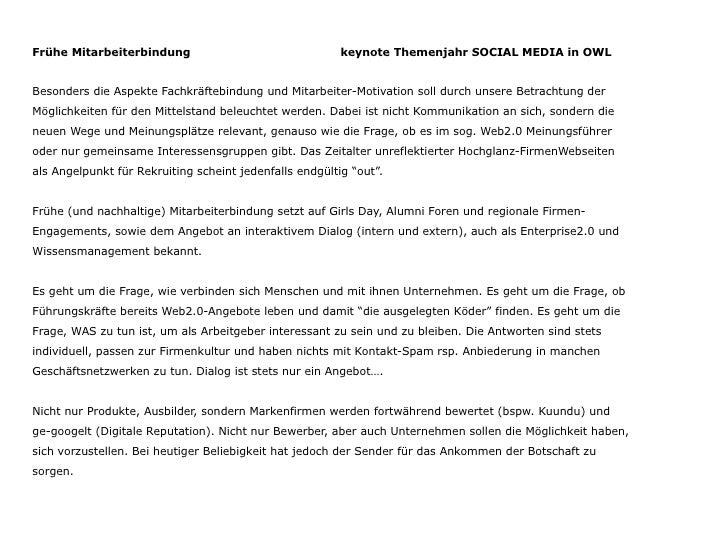 Frühe Mitarbeiterbindung                                 keynote Themenjahr SOCIAL MEDIA in OWLBesonders die Aspekte Fachk...