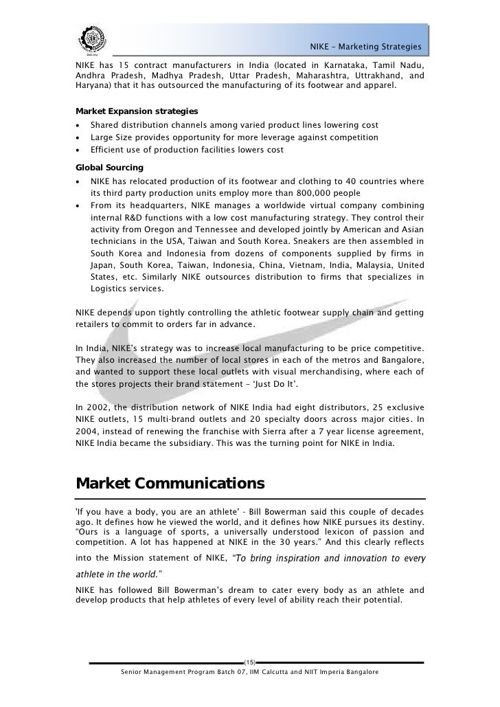Nike, inc. marketing plan essay