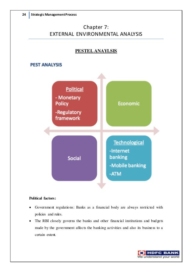pestle analysis on hdfc bank Chapter ii environment analysis of banking industry  research evidences that showed that environmental analysis was linked with improved  reserve bank.
