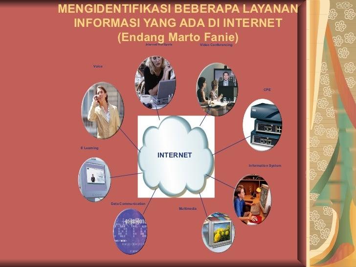 MENGIDENTIFIKASI BEBERAPA LAYANAN INFORMASI YANG ADA DI INTERNET (Endang Marto Fanie) Video Conferencing E Learning Voice ...