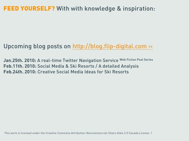 FEED YOURSELF? With with knowledge & inspiration:     Upcoming blog posts on http://blog.flip-digital.com ››  Jan.25th. 20...