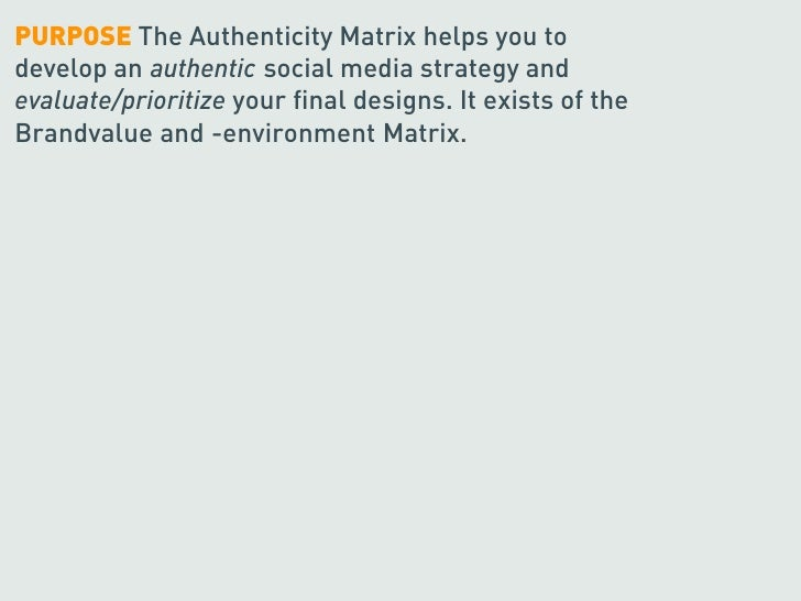 PURPOSE The Authenticity Matrix helps you to develop an authentic social media strategy and evaluate/prioritize your final...