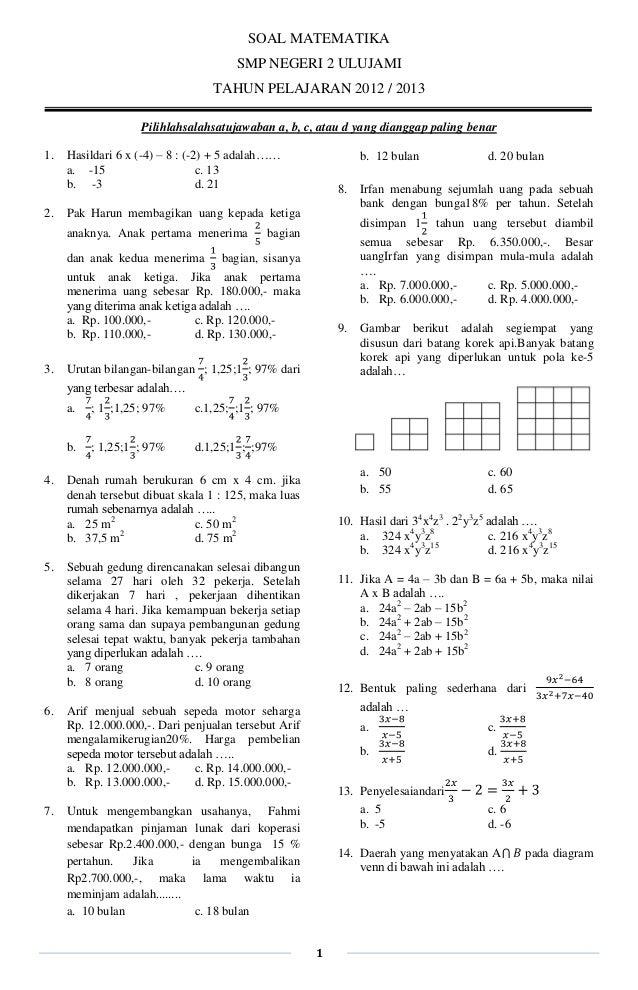Latihan Soal Matematika Un 2013 Paket 7
