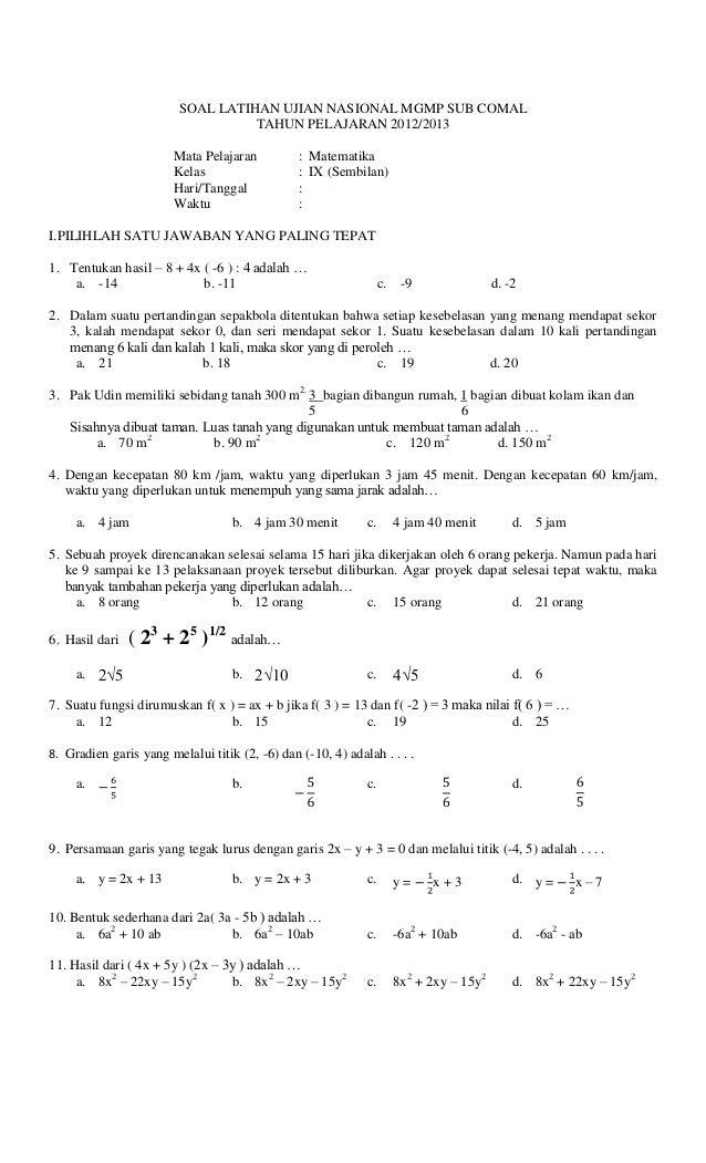 Latihan Soal Matematika Un 2013 Paket 12