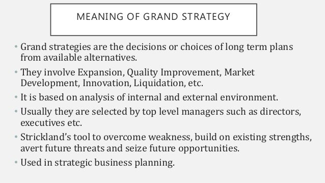 CLASSIFICATION OF GRAND STRATEGY