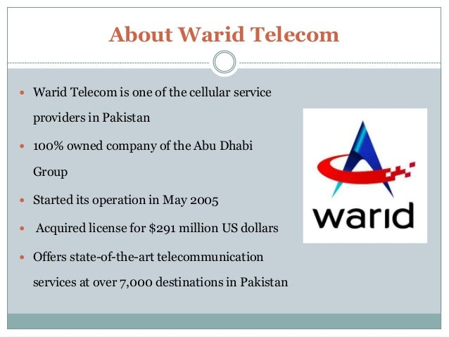 warid telecom management project Strategic management – term report – warid telecom submitted to:  the  project involved strategic analysisandresearch on the company.