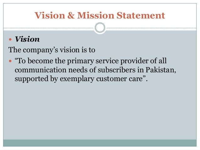 mission statement of warid telecom Free college essay marketing plan - warid telecomnmunication marketting marketing plan warid telecom 2  plan for united parcel service mission statement.