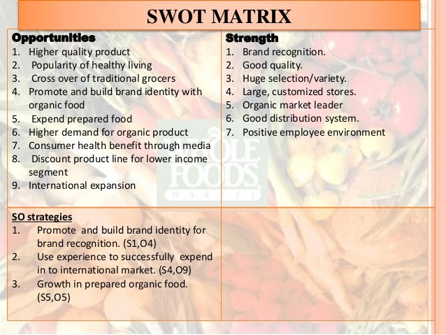 whole foods bcg matrix The strategic group mapping may be explained through the boston consulting group matrix which divides the players in the market in terms of their market growth and market share whole foods market and safeway, for example, both fill consumers needs for the same product.