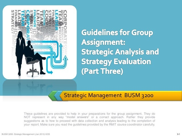 Strategic Management BUSM 3200 These guidelines are provided to help in your preparations for the group assignment. They d...
