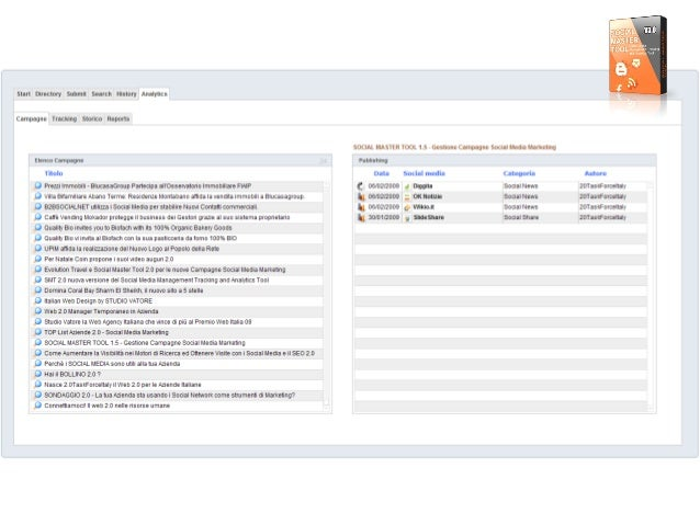 l i     Start Directory Submit Searcli History Anamjcs  Campagne Tracking Storico Reports  SDCIAL MASTER TOOL 1.5 — Gestio...