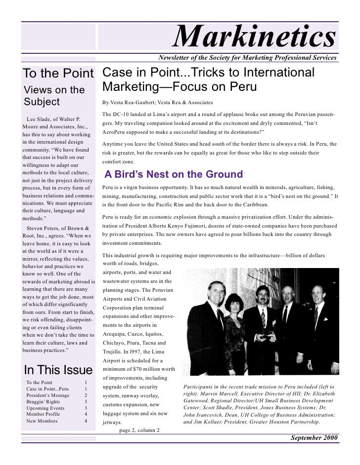 Markinetics                                                            Newsletter of the Society for Marketing Professiona...