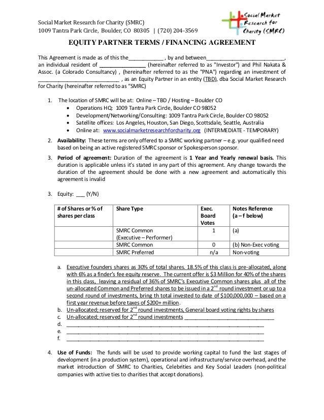 smrc equity partner terms financing agreement. Black Bedroom Furniture Sets. Home Design Ideas