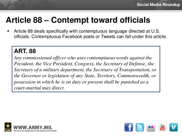 article 89 of the ucmj The following are the punitive articles of the ucmj: article 86 absence without leave  article 89 disrespect toward superior commissioned officer.