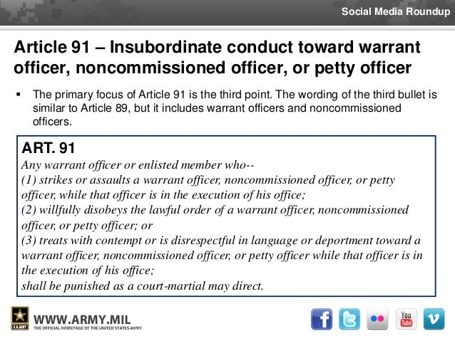 disrespecting and nco article 91 ucmj Usareur disciplinary actions: october 2014 a military judge of one specification of disrespecting a non-commissioned officer in violation of article 91, ucmj.