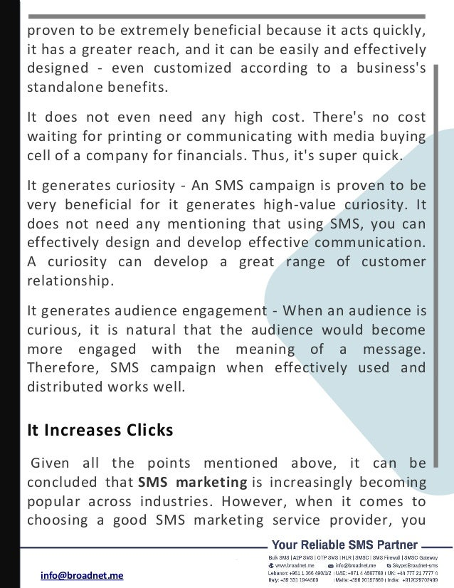 SMS CAMPAIGNS INCREASE SALES