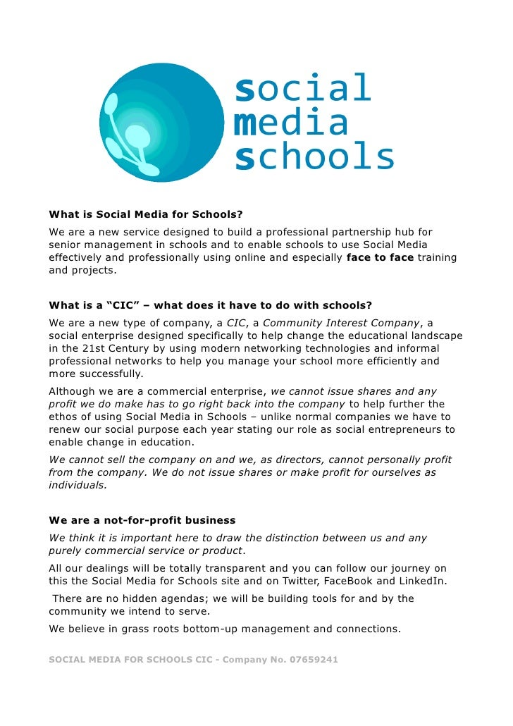 What is Social Media for Schools?We are a new service designed to build a professional partnership hub forsenior managemen...