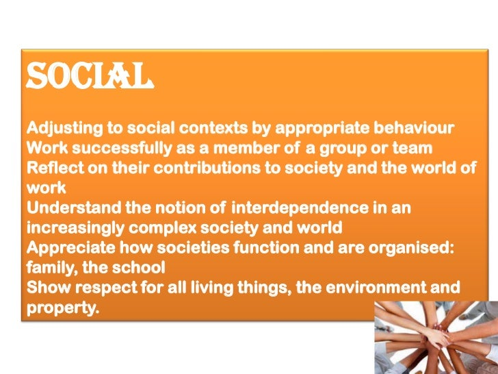 SocialAdjusting to social contexts by appropriate behaviourWork successfully as a member of a group or teamReflect on thei...
