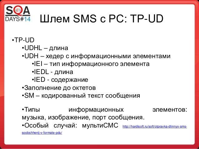 Шлем SMS с PC: TP-UD •TP-UD •UDHL – длина •UDH – хедер с информационными элементами •IEI – тип информационного элемента •I...