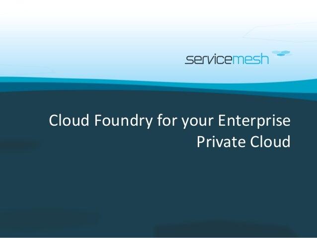 Cloud Foundry for your Enterprise                    Private Cloud