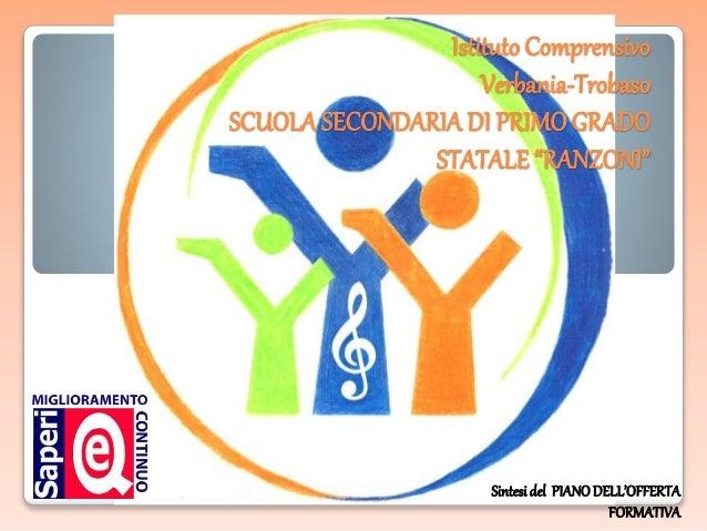 """Istituto Comprensivo Verbania-Trobaso SCUOLASECONDARIA DI PRIMOGRADO STATALE """"RANZONI"""" Sintesidel PIANODELL'OFFERTA FORMAT..."""