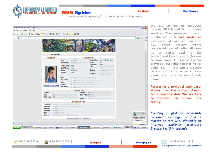 Desired               |                Developed                            SMS Spider                                 a c...