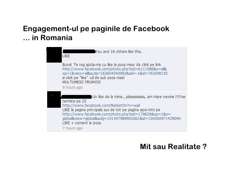 Engagement-ul pe paginile de Facebook  ... in Romania  Mit sau Realitate ?