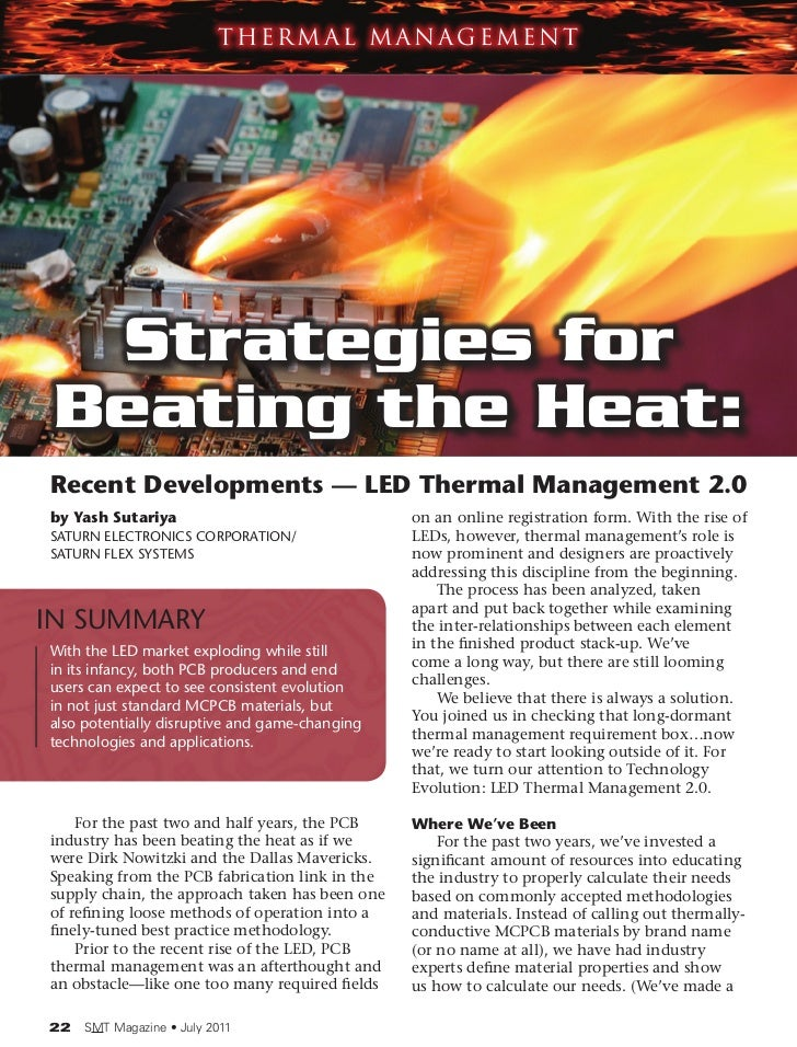 Thermal Management  Strategies for Beating the Heat:Recent Developments — LED Thermal Management 2.0by Yash Sutariya      ...