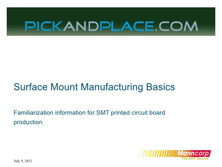 Surface Mount Manufacturing BasicsFamiliarization information for SMT printed circuit boardproductionJuly 9, 2012