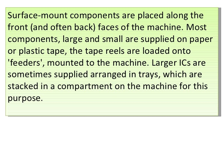 Surface-mount components are placed along the front (and often back) faces of the machine. Most components, large and smal...