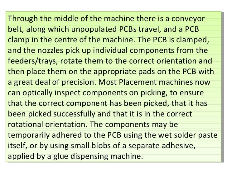 Through the middle of the machine there is a conveyor belt, along which unpopulated PCBs travel, and a PCB clamp in the ce...