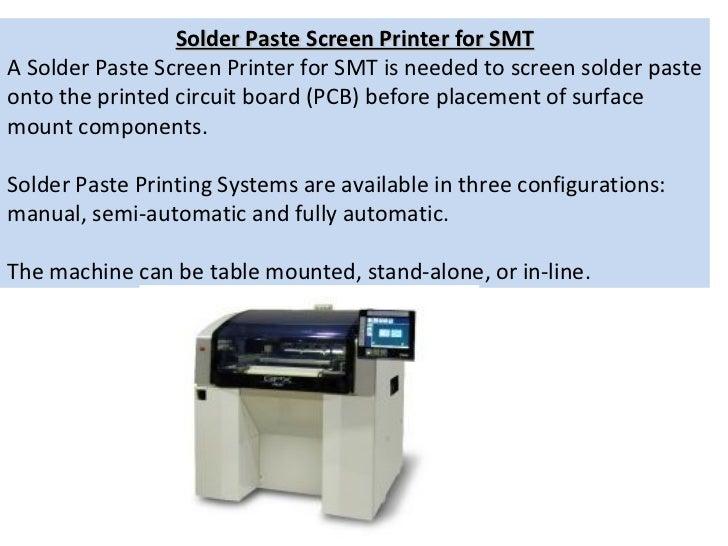 Solder Paste Screen Printer for SMT A Solder Paste Screen Printer for SMT is needed to screen solder paste onto the printe...