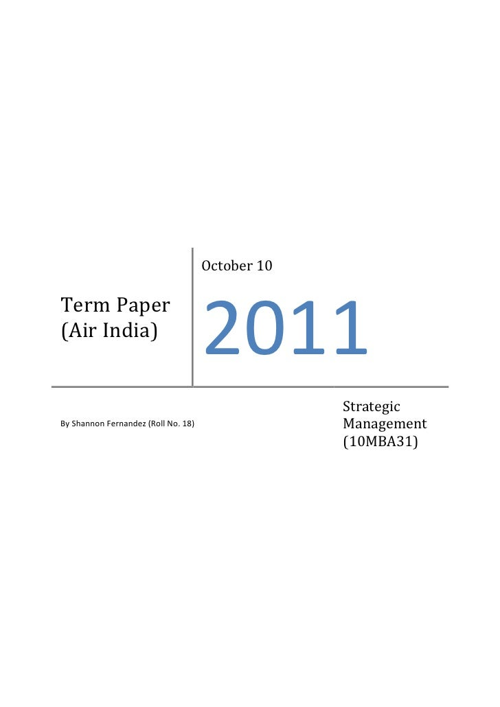 October 10Term Paper(Air India)                                     2011                                                  ...