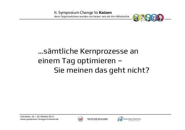 II. Symposium Change to Kaizen denn Organisationen werden nie besser sein als ihre Mitarbeiter  …sämtliche Kernprozesse an...