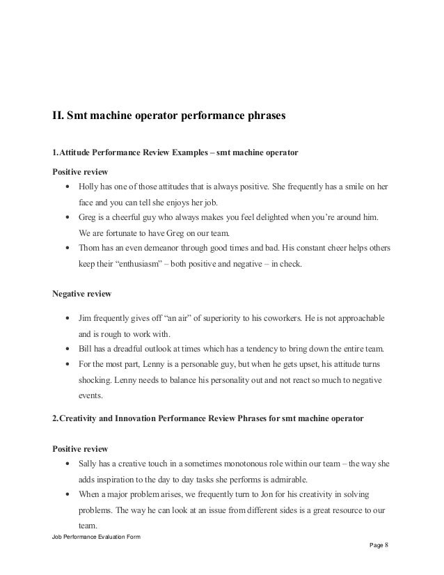 Smt Machine Operator Performance Appraisal