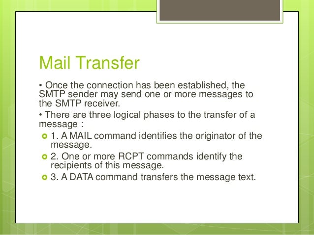 simple mail transfer protocol Simple mail transfer protocol this rfc 5321 was published in 2008 abstract this document is a specification of the basic protocol for internet electronic mail transport.
