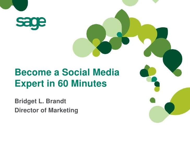 Become a Social MediaExpert in 60 MinutesBridget L. BrandtDirector of Marketing