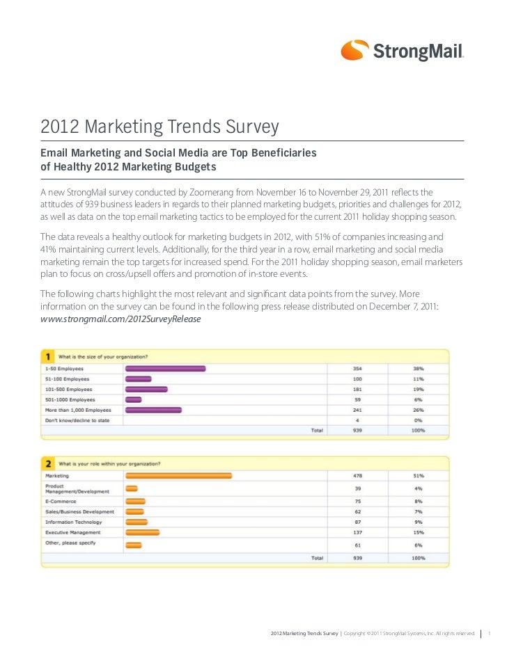 2012 Marketing Trends SurveyEmail Marketing and Social Media are Top Beneficiariesof Healthy 2012 Marketing BudgetsA new S...