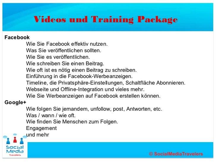 Videos und Training PackageFacebook       Wie Sie Facebook effektiv nutzen.       Was Sie veröffentlichen sollten.       W...