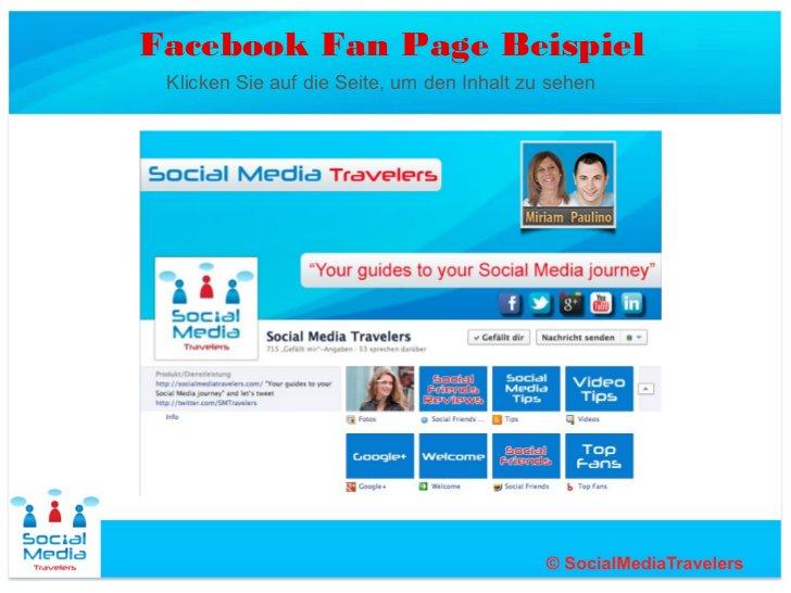 Facebook Fan Page Beispiel Klicken Sie auf die Seite, um den Inhalt zu sehen