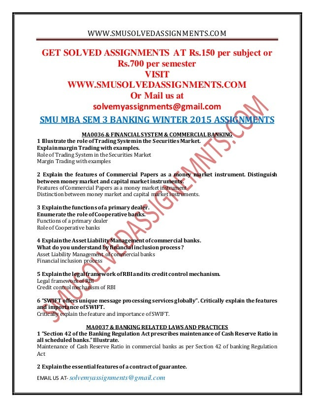 assignment mba 3 rd search engine marketing smu
