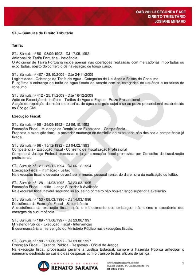1 OAB 2011.3 SEGUNDA FASE DIREITO TRIBUTÁRIO JOSIANE MINARD STJ – Súmulas de Direito Tributário Tarifa: STJ Súmula nº 50 -...