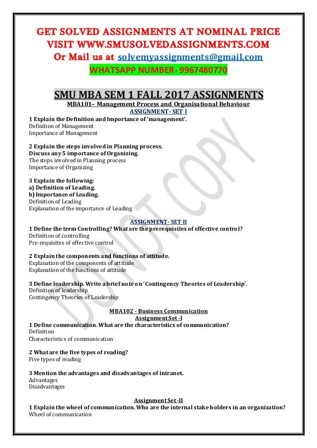 mba sem i assignment Mba101– management process and organisational behaviour assignment- set i 1 explain the definition and importance of 'management' 2 explain the steps involved.
