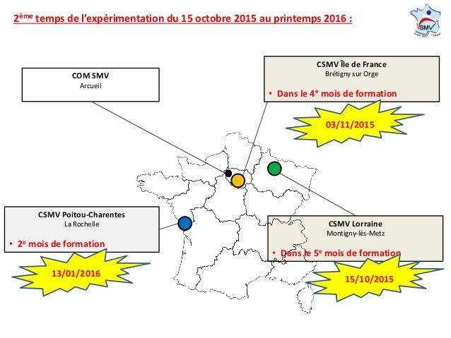1. Création et organisation COM SMV Arcueil CSMV Lorraine Montigny-lès-Metz • Dans le 5e mois de formation CSMV Poitou-Cha...