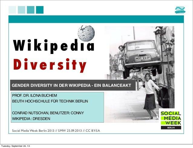 W ikipe dia Dive r sity Social Media Week Berlin 2013 // SMW 25.09.2013 // CC BY-SA PROF. DR. ILONABUCHEM BEUTH HOCHSCHULE...