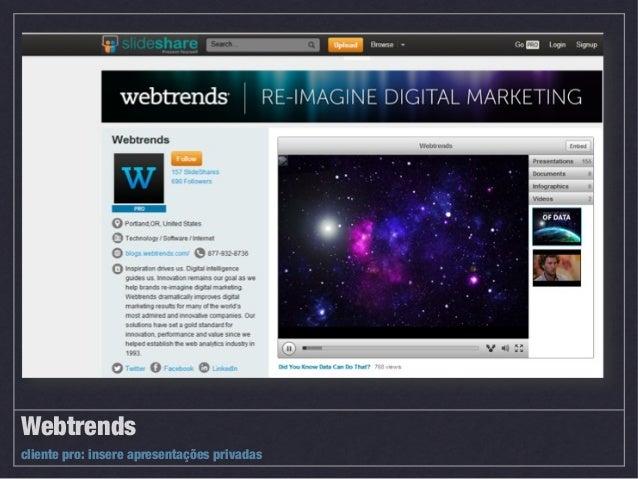 Behance Métricas: + de 1 milhão de membros (Jan/2013) Quem usa? Criativos, designers, empresas de design, branding, propag...