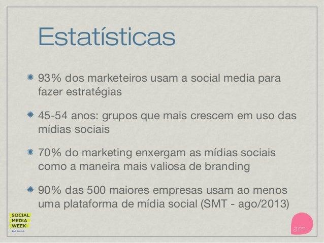 Estatísticas 93% dos marketeiros usam a social media para fazer estratégias 45-54 anos: grupos que mais crescem em uso das...