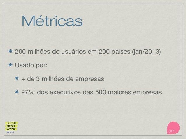 Métricas 200 milhões de usuários em 200 países (jan/2013) Usado por: + de 3 milhões de empresas 97% dos executivos das 500...