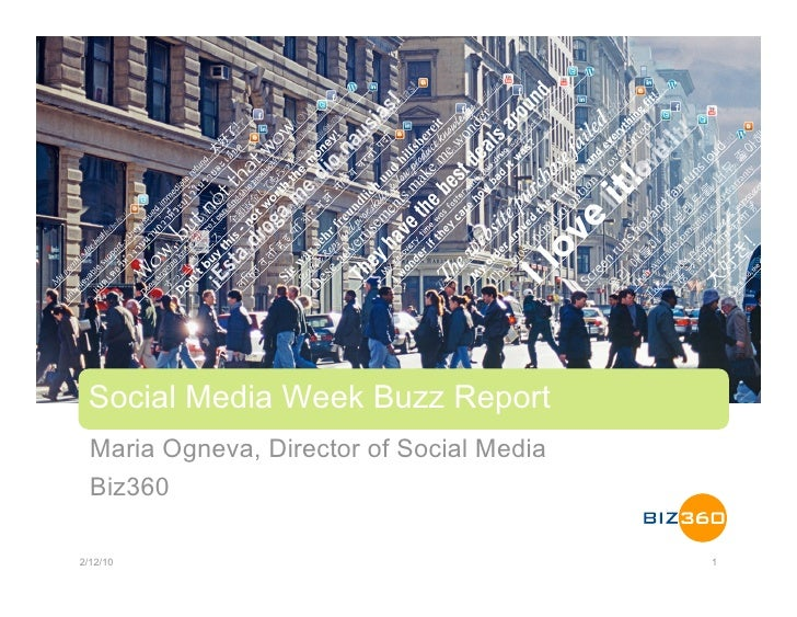 Social Media Week Buzz Report   Maria Ogneva, Director of Social Media   Biz360  2/12/10                                  ...